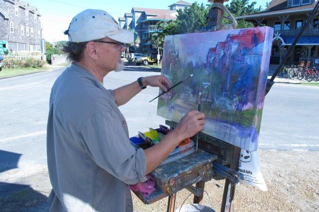 Outdoor artists on Ocracoke NC