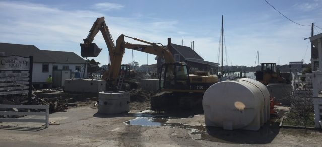 Construction began this week on a new waster water system for the shops in Community Square, Ocracoke, N.C. Though the project is expected to take several weeks, shops will be accessible when they are open. Photo: C. Leinbach