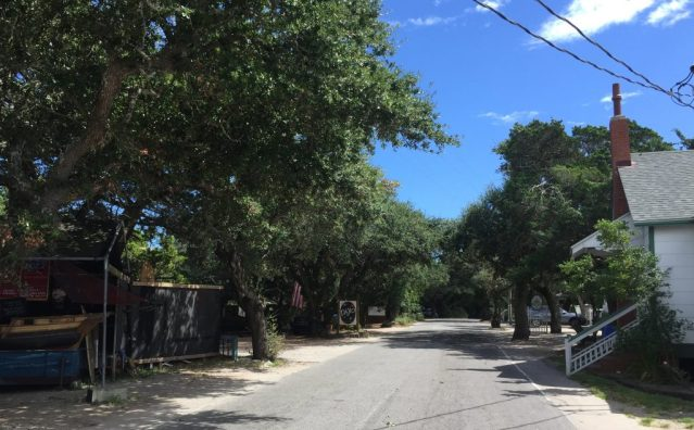 Ocracoke Village downtown, normally bustling with visitors, is quiet. Photo: C. Leinbach
