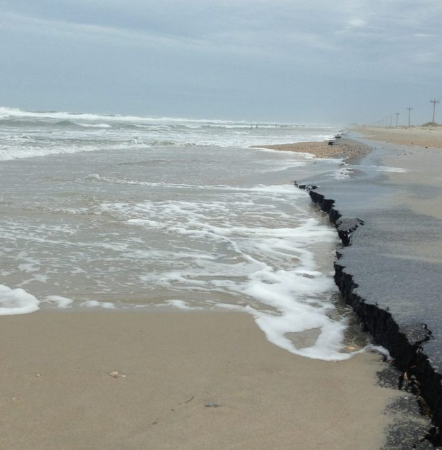 Abut two miles of N.C. 12 at the north end of Ocracoke Island is damaged by Hurricane Florence. Photo by Tom Pahl