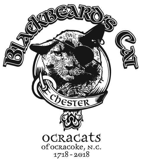 Chesters piratical image is immortalized on T-shirts to be sold by OcraCats during Blackbeards Pirate Jamboree, Oct. 25 to 28, on Ocracoke, N.C. Design by Jesse Davis