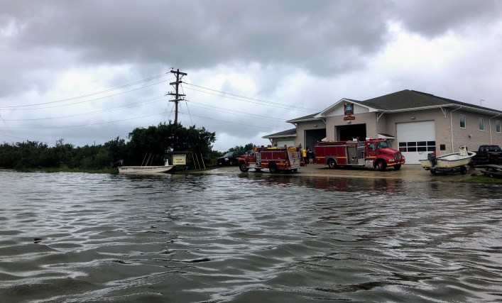 Flooding from Hurricane Dorian on Sept. 6, 2019, had receded considerably on Ocracoke, NC, by about 1 p.m., as seen here in this shot of the Ocracoke Volunteer Fire Department.  Photo: C. Leinbach
