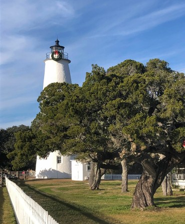 The Ocracoke NC lighthouse is ready for Christmas. Photo: C. Leinbach