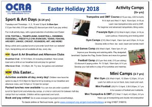 Image: OCRA Easter Holiday Programme 2018