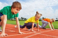 Image: junior athletics starting line