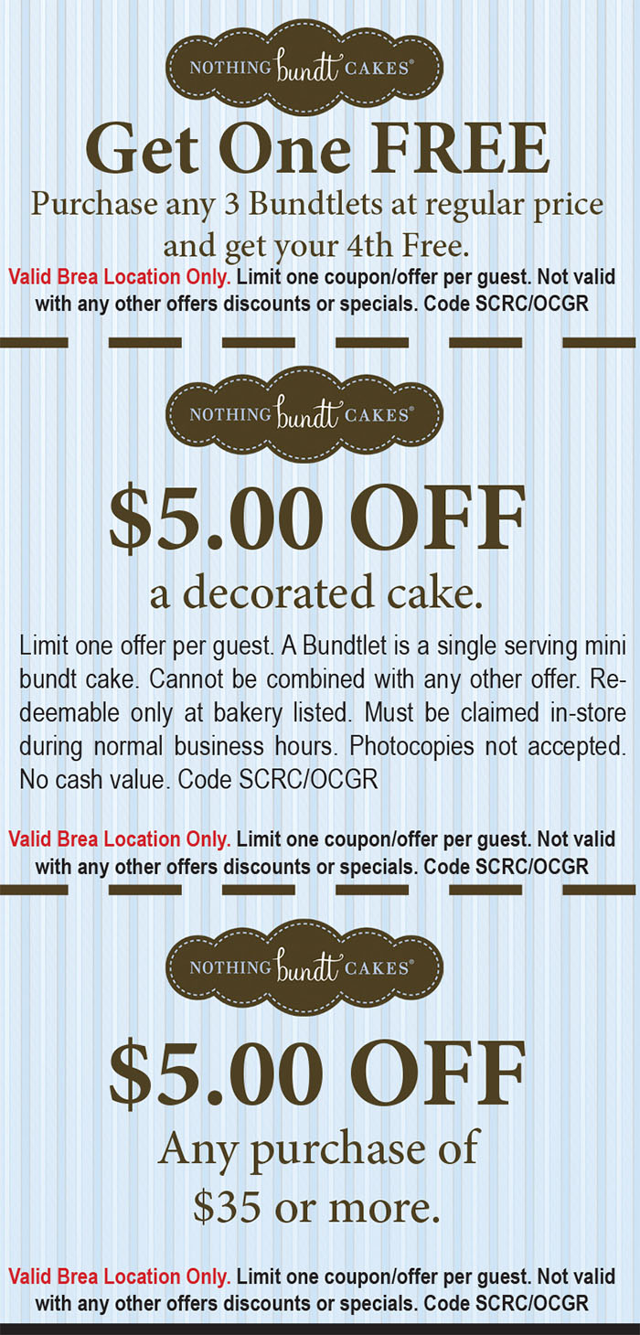 Nothing Bundt Cake Coupons : nothing, bundt, coupons, Nothing, Bundt, Cakes, Restaurant, Guides