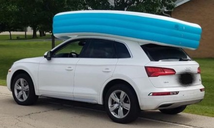 Police: Mom arrested after letting children ride in inflatable pool on top of car