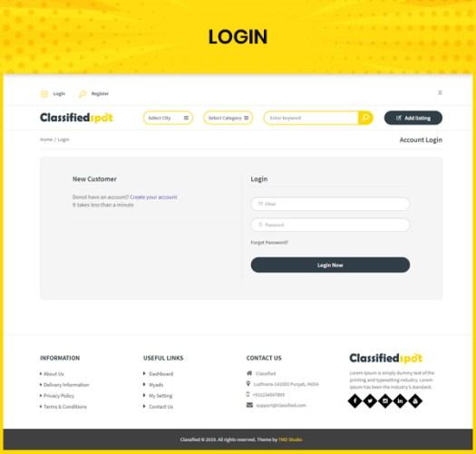 classified custom script user login page