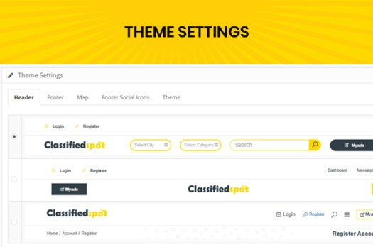 classified custom script admin website theme setting page