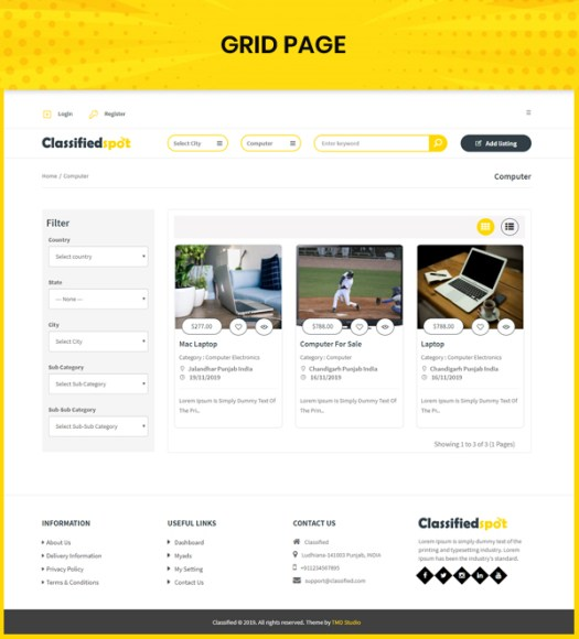 classified custom script ads grid page