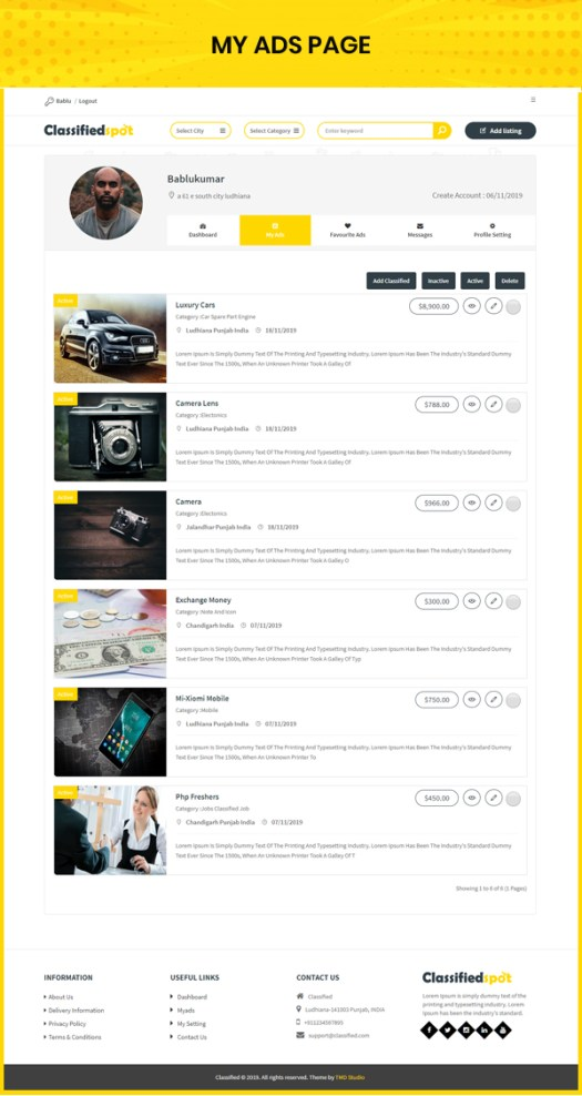 classified custom script my created ad list page