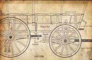 detailed drawing of emigrant covered wagon