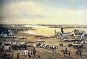 William Henry Jackson painting of covered wagon trains, men on horseback, and steamboat at Westport Landing, Missouri