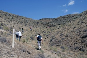 several hikers walk uphill past a trail marker in open landscape