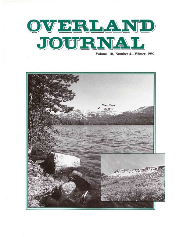 Overland Journal Volume 10 Number 4 Winter 1992