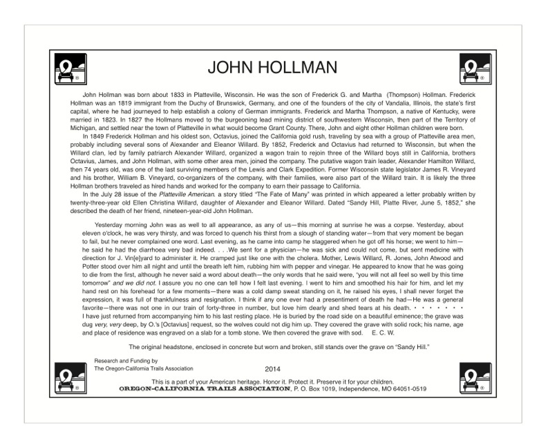 plaque with text about emigrant John Hollman