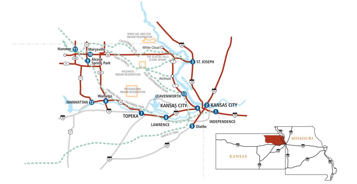 Missouri & Kansas Pioneer Trails Map