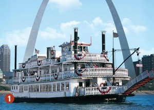 St. Louis Arch and riverboat