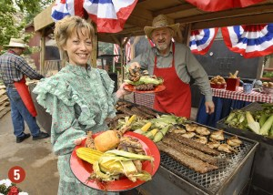 Country folks serving food