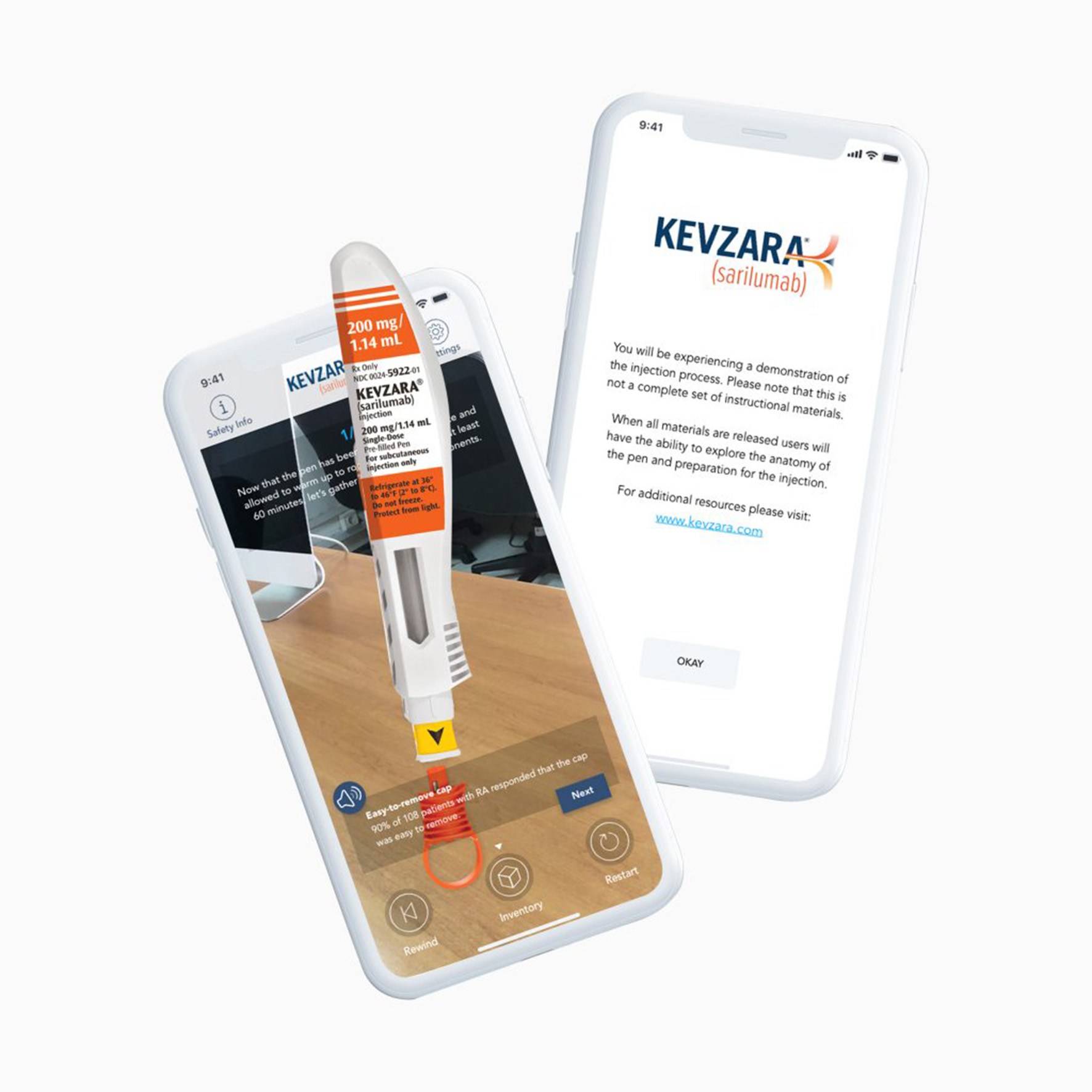 Kevzara AR App with 3D Injectable Pen
