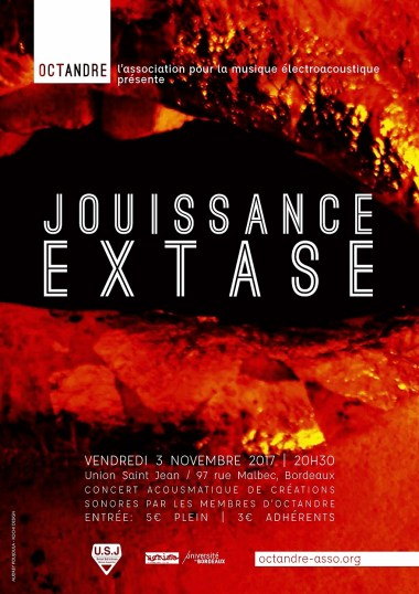 """Flyer for the """"Jouissance / Extase"""" event"""