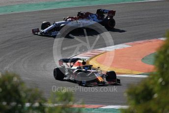 World © Octane Photographic Ltd. Formula 1 – F1 Portuguese GP, Practice 2. Aston Martin Red Bull Racing RB16 – Alexander Albon and Alfa Romeo Racing Orlen C39 – Kimi Raikkonen. Autodromo do Algarve, Portimao, Portugal. Friday 23rd October 2020.