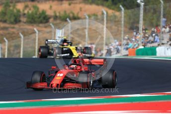 World © Octane Photographic Ltd. Formula 1 – F1 Portuguese GP, Practice 3. Scuderia Ferrari SF1000 – Charles Leclerc and Renault Sport F1 Team RS20 – Esteban Ocon. Autodromo do Algarve, Portimao, Portugal. Saturday 24th October 2020.