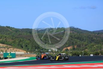 World © Octane Photographic Ltd. Formula 1 – F1 Portuguese GP, Practice 3. Renault Sport F1 Team RS20 – Esteban Ocon and McLaren MCL35 – Carlos Sainz. Autodromo do Algarve, Portimao, Portugal. Saturday 24th October 2020.