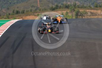 World © Octane Photographic Ltd. Formula 1 – F1 Portuguese GP, Qualifying. Aston Martin Red Bull Racing RB16 – Max Verstappen, McLaren MCL35 – Lando Norris and Scuderia AlphaTauri Honda AT01 – Daniil Kvyat. Autodromo do Algarve, Portimao, Portugal. Saturday 24th October 2020.