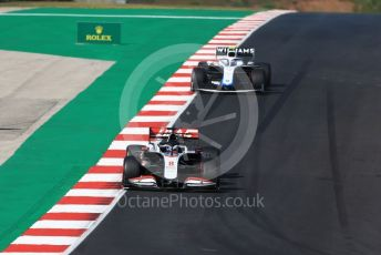World © Octane Photographic Ltd. Formula 1 – F1 Portuguese GP, Qualifying. Haas F1 Team VF20 – Romain Grosjean and Williams Racing FW43 – Nicholas Latifi. Autodromo do Algarve, Portimao, Portugal. Saturday 24th October 2020.