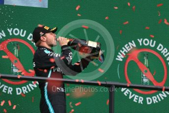World © Octane Photographic Ltd. Formula 1 – F1 Portuguese GP, Podium. Mercedes AMG Petronas F1 W11 EQ Performance - Valtteri Bottas. Autodromo do Algarve, Portimao, Portugal. Sunday 25th October 2020.