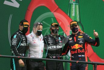 "World © Octane Photographic Ltd. Formula 1 – F1 Portuguese GP, Podium. Mercedes AMG Petronas F1 W11 EQ Performance - Lewis Hamilton, Valtteri Bottas and Peter ""Bono"" Bonnington with Aston Martin Red Bull Racing RB16 – Max Verstappen. Autodromo do Algarve, Portimao, Portugal. Sunday 25th October 2020."