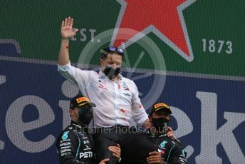 "World © Octane Photographic Ltd. Formula 1 – F1 Portuguese GP, Podium. Mercedes AMG Petronas F1 W11 EQ Performance - Lewis Hamilton, Valtteri Bottas and Peter ""Bono"" Bonnington. Autodromo do Algarve, Portimao, Portugal. Sunday 25th October 2020."
