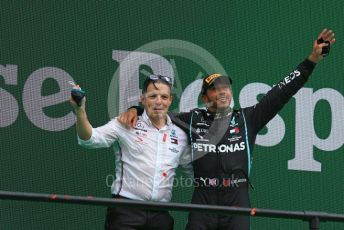 "World © Octane Photographic Ltd. Formula 1 – F1 Portuguese GP, Podium. Mercedes AMG Petronas F1 W11 EQ Performance - Lewis Hamilton and Peter ""Bono"" Bonnington. Autodromo do Algarve, Portimao, Portugal. Sunday 25th October 2020."