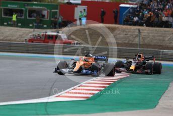 World © Octane Photographic Ltd. Formula 1 – F1 Portuguese GP, Race. McLaren MCL35 – Carlos Sainz and Aston Martin Red Bull Racing RB16 – Max Verstappen. Autodromo do Algarve, Portimao, Portugal. Sunday 25th October 2020.