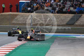 World © Octane Photographic Ltd. Formula 1 – F1 Portuguese GP, Race. Aston Martin Red Bull Racing RB16 – Alexander Albon and Renault Sport F1 Team RS20 – Esteban Ocon. Autodromo do Algarve, Portimao, Portugal. Sunday 25th October 2020.