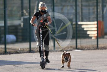 World © Octane Photographic Ltd. Formula 1 – F1 Portuguese GP, Paddock. Mercedes AMG Petronas F1 W11 EQ Performance - Lewis Hamilton's personal trainer Angela Cullen and dog Roscoe. Autodromo do Algarve, Portimao, Portugal. Friday 23rd October 2020.