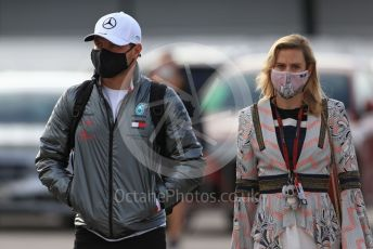 World © Octane Photographic Ltd. Formula 1 – F1 Portuguese GP, Paddock. Mercedes AMG Petronas F1 W11 EQ Performance - Valtteri Bottas and girlfriend Tiffany Cromwell. Autodromo do Algarve, Portimao, Portugal. Friday 23rd October 2020.