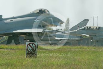 RAF Coningsby. Eurofighter Typhoon T3s ZK383 and ZK379 ready for takeoff as FGR4 ZK360 (12 Sqn) waits. 2nd June 2021. World © Octane Photographic Ltd.