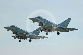RAF Coningsby. Eurofighter Typhoon FGR4s ZK366 and ZK360 of 12 Sqn come in to land. 2nd June 2021. World © Octane Photographic Ltd.