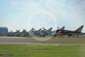 """RAF Coningsby. Eurofighter Typhoon FGR4 ZJ914 29Sqn """"Black Jack"""" of the Typhoon Display Team heads the lineup on the pan. 2nd June 2021. World © Octane Photographic Ltd."""