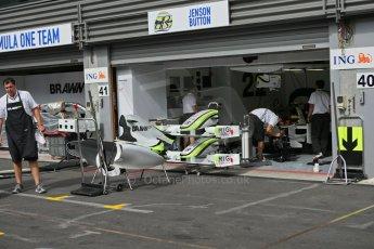 World © Octane Photographic. Belgian GP - Spa Francorchamps, Pitlane, 27th August 2009. Brawn BGP001 - Jenson Button. Digital Ref :