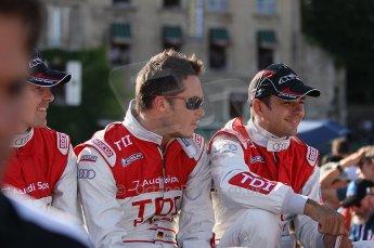 2010 Le Mans 24 Hour (24 Heures du Mans), 11th June 2010. Drivers' parade. Audi Sport Team Joest - Andre Lotterer, Marcel Fassler. Digital ref : CB1D2562