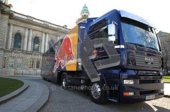 World © Octane Photographic 2010. 2010 Red Bull City Limits street demo Belfast, David Coulthard. Digital ref : 0027CB1D3871