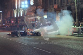 World © Octane Photographic 2010. 2010 Red Bull City Limits street demo Belfast, David Coulthard. Digital ref : 0027CB1D4070