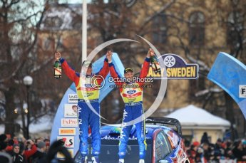 © North One Sport Ltd.2010 / Octane Photographic Ltd.2010. WRC Sweden Podium, February 14th 2010, Victors!. Digital Ref : 0138CB1D3175
