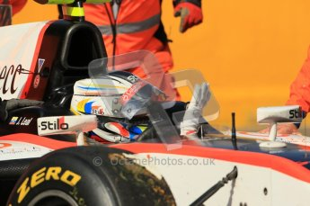 © Octane Photographic Ltd. 2011. Belgian Formula 1 GP, GP2 Race 2 - Sunday 28th August 2011. Julian Leal of Rapax Team waves to marshells to show that he is fine after crashing out at La Source. Digital Ref : 0205cb1d0245