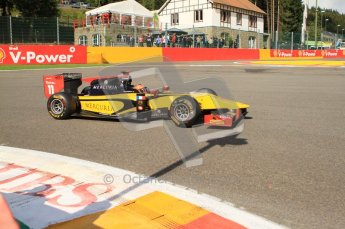 © Octane Photographic Ltd. 2011. Belgian Formula 1 GP, GP2 Race 2 - Sunday 28th August 2011. DAMS driver Romain Grosjean taking a loose line around La Source. Digital Ref : 0205cb7d0107