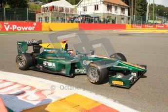 © Octane Photographic Ltd. 2011. Belgian Formula 1 GP, GP2 Race 2 - Sunday 28th August 2011. Jules Bianchi of Lotus ART taking on La Source. Digital Ref : 0205cb7d0111