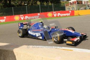 © Octane Photographic Ltd. 2011. Belgian Formula 1 GP, GP2 Race 2 - Sunday 28th August 2011. Marcus Ericsson of iSport International taking on La Source. Digital Ref : 0205cb7d0241